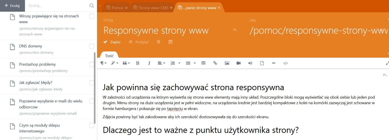 Strony www cms edytor tekstu